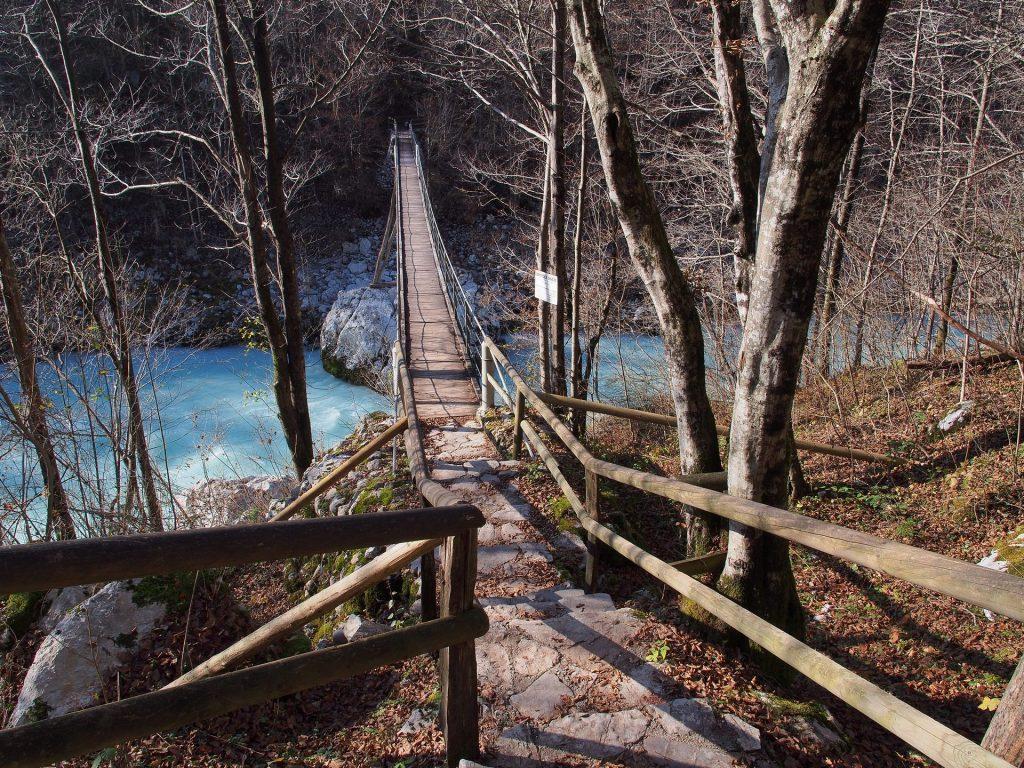 il ponte sospeso sull'Isonzo