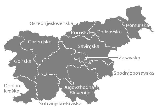 le regioni statistiche della Slovenia