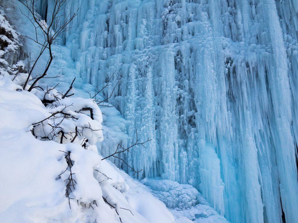 Una vera parete di ghiaccio