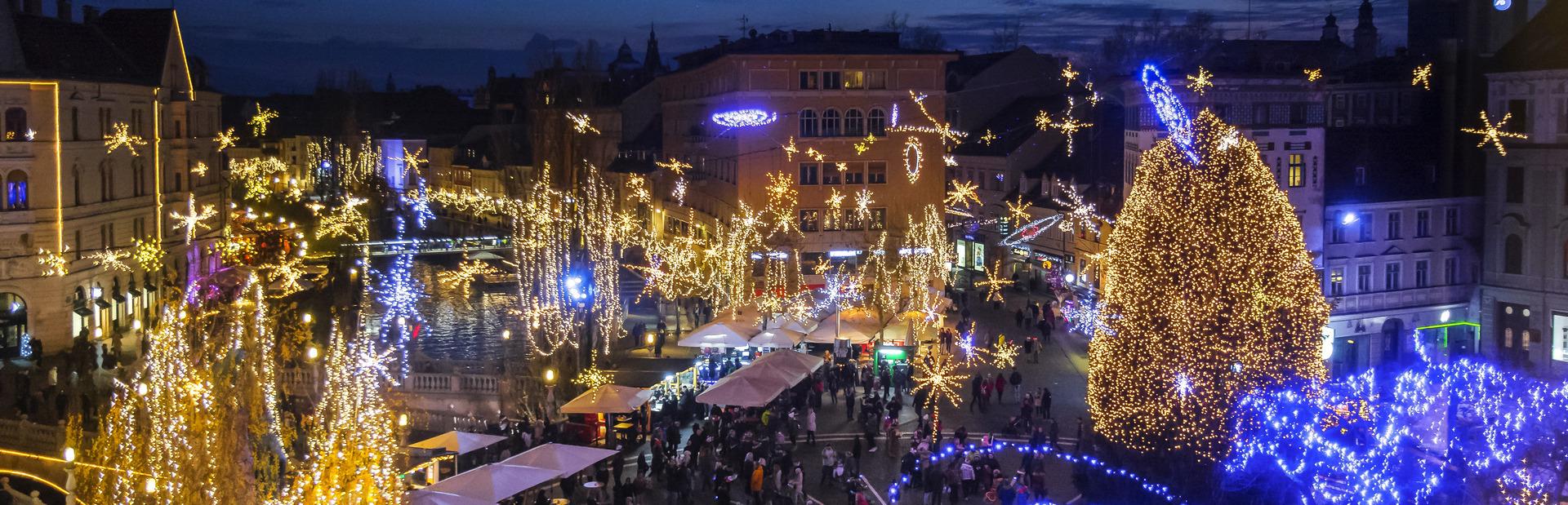Le meravigliose illuminazioni natalizie di Ljubljana