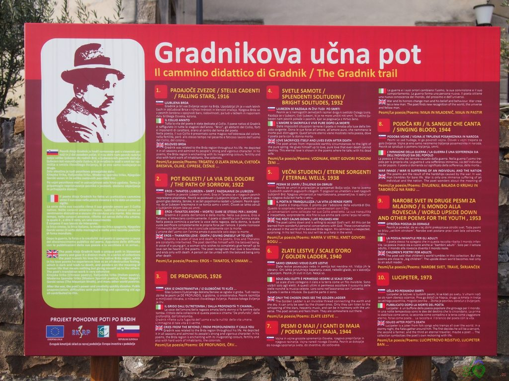 Il cammino didattico di Gradnik a Dobrovo, sul Collio sloveno