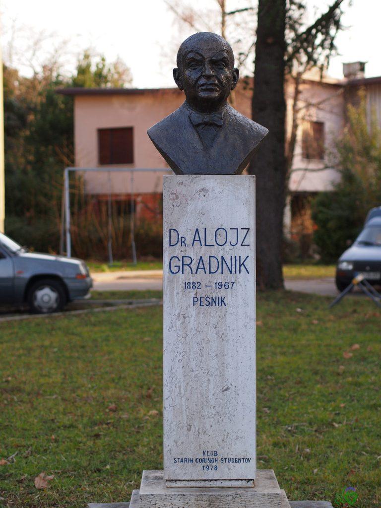 La statua di Alojz Gradnik a Nova Gorica