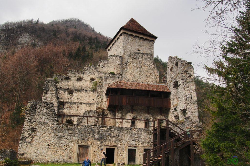 La corte del castello con l'alta torre alle spalle