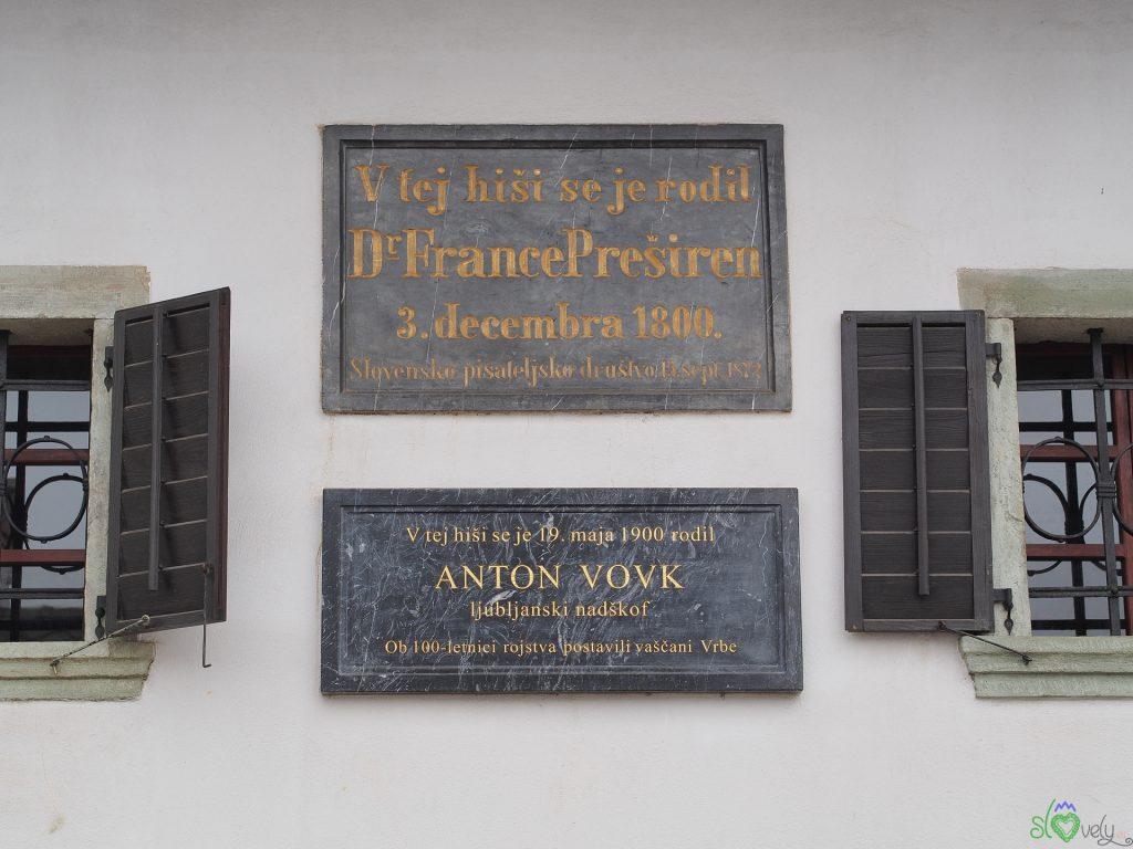 La targa che ricorda Prešeren