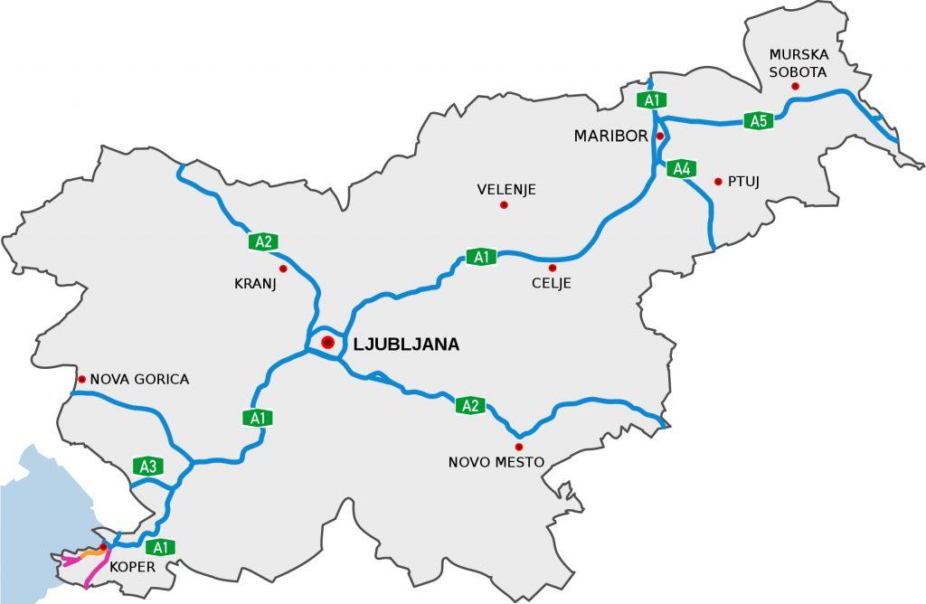 Mappa delle autostrade e superstrade slovene, dove è necessaria la vinjeta.
