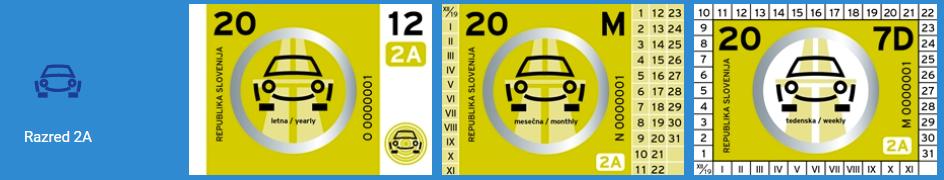 La vinjeta per le auto e i camper - Razred 2A