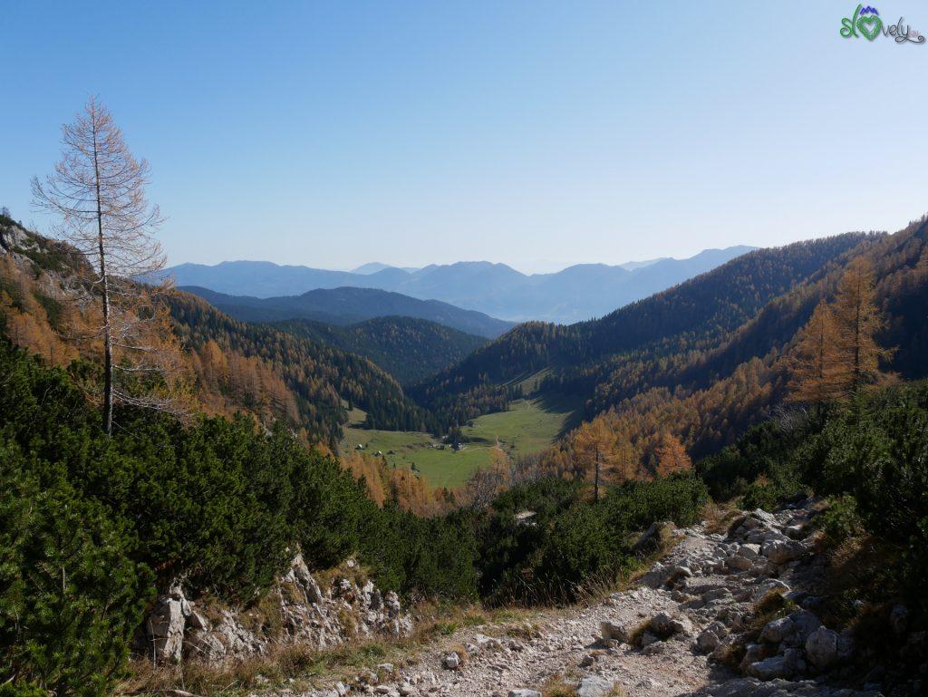 In fondo alla valle vediamo Planina Konjščica, la nostra prossima meta!