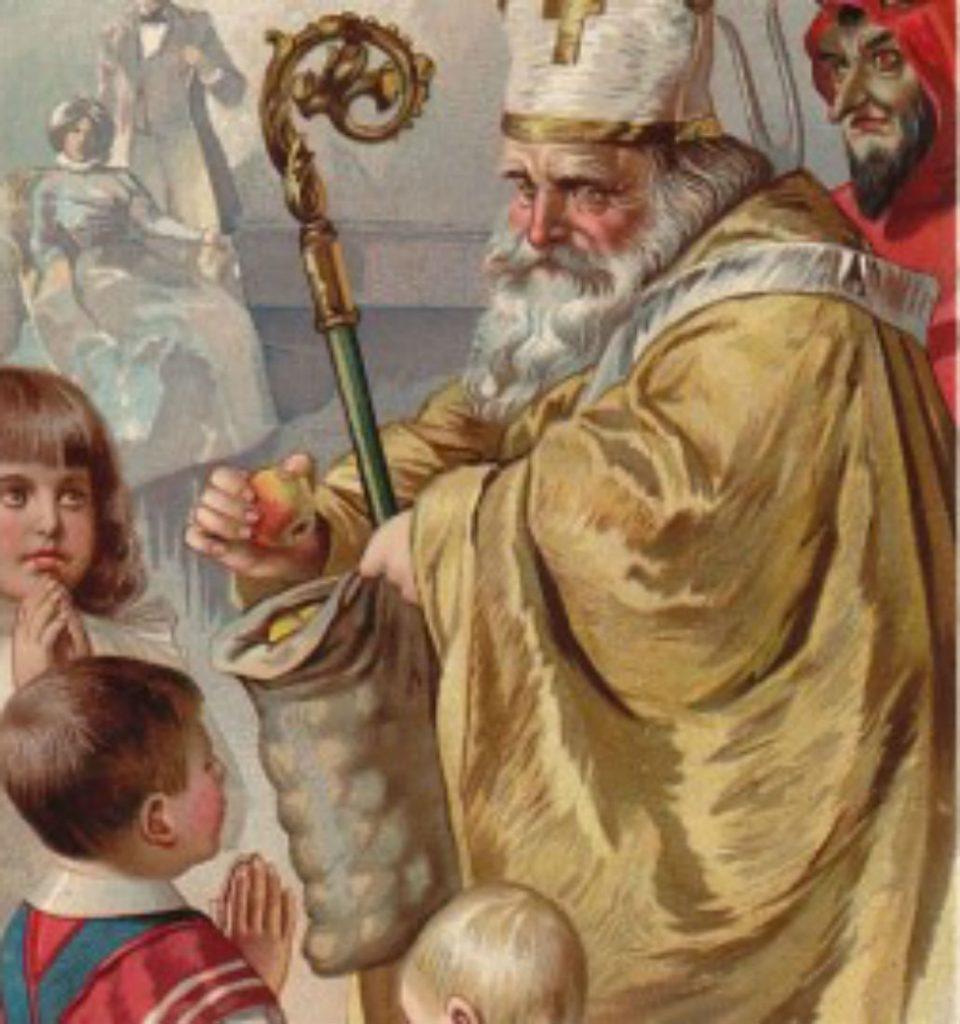 San Nicola dona le mele ai bambini.