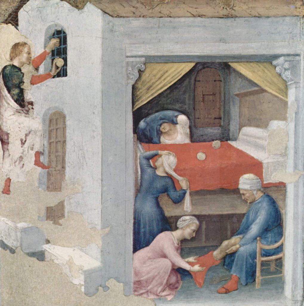 """Il """"Dono di San Nicola alle tre fanciulle povere"""" di Gentile da Fabriano."""