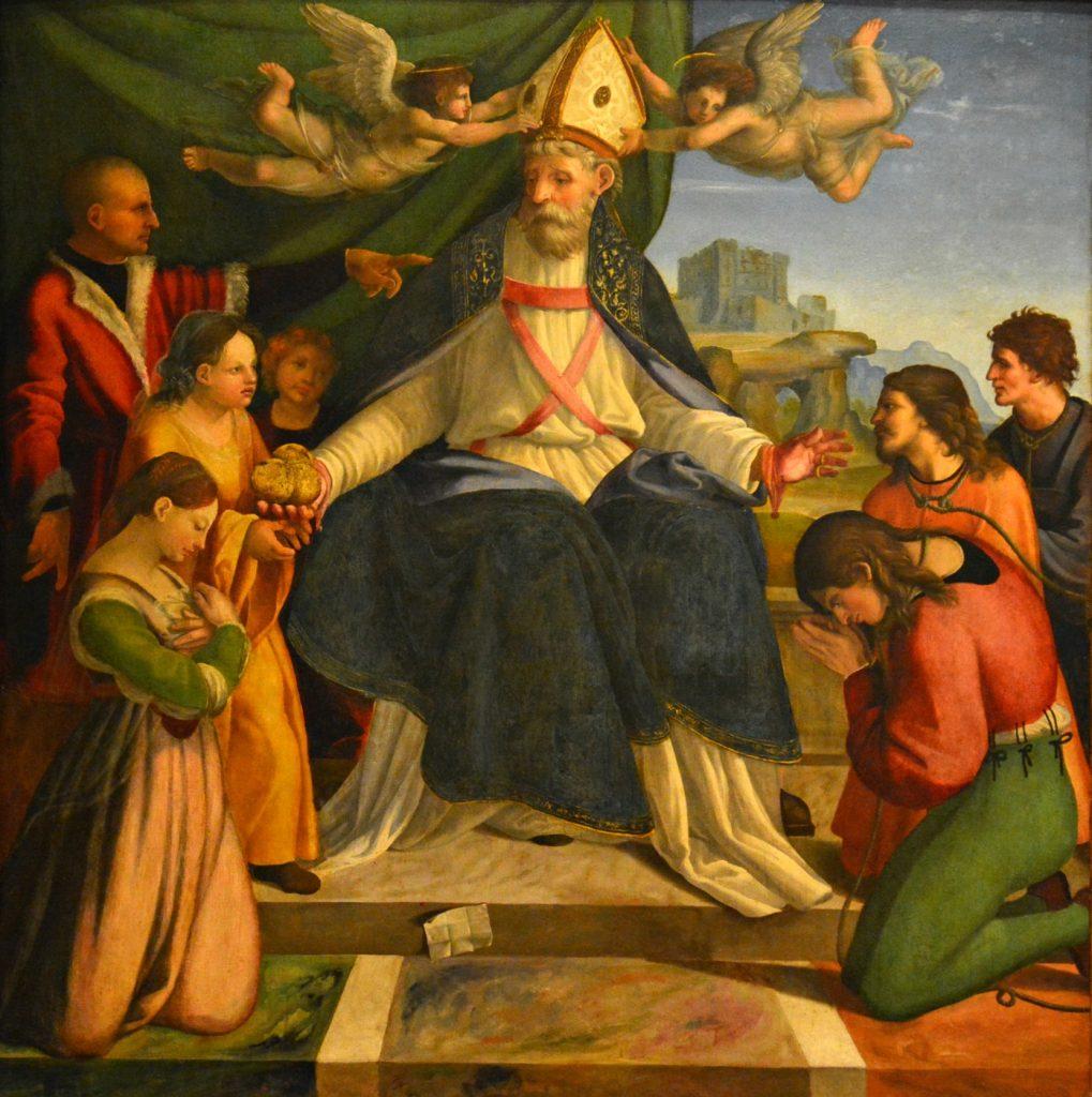 San Nicola di Bari, raffigurato da Andrea Sabatini da Salerno.