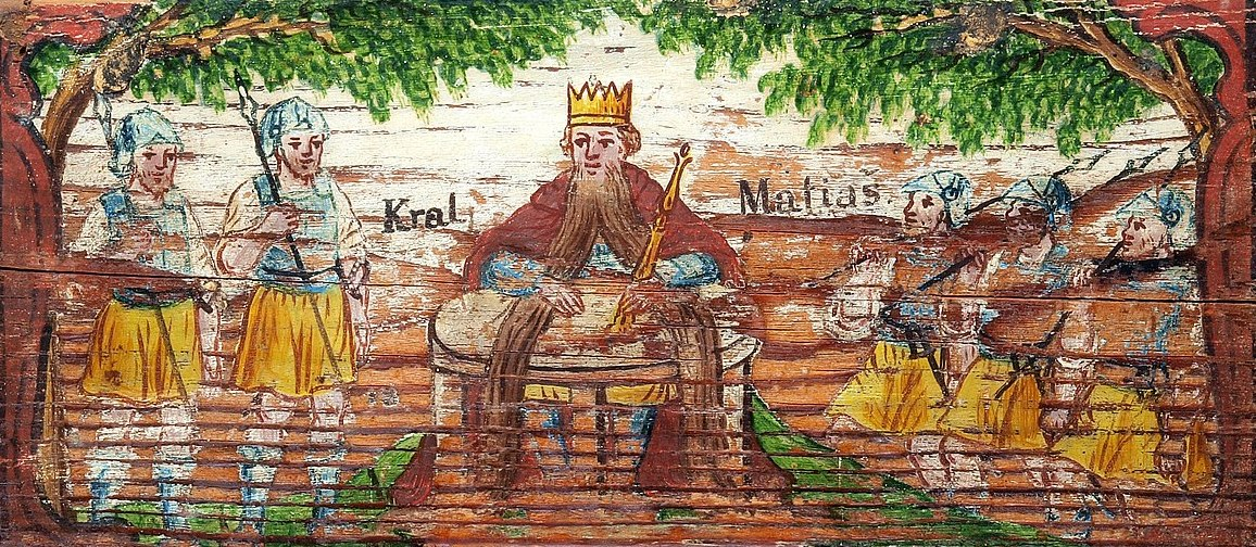 La leggenda di Kralj Matjaž sul pannello di un'arnia.